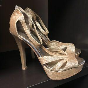 Gold Glitter Platform Stilettos by Qupid